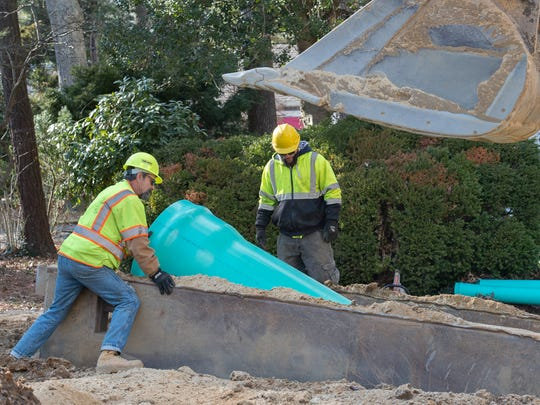 Sewer pipe being installed along Henlopen Avenue in Rehoboth Beach.