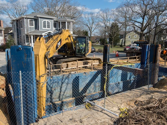 Work being completed for the outfall project along Canal Street in Rehoboth Beach.