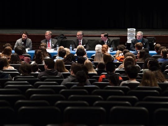 During a town hall meeting held at Caesar Rodney High School on Wednesday after the national student walkout, students were able to query local legislators about gun control in Delaware.