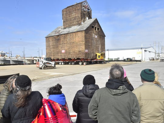 The granary reaches its destination Thursday morning in Sturgeon Bay. The top two-thirds of the historic granary were across the Maple-Oregon Bridge on Thursday.