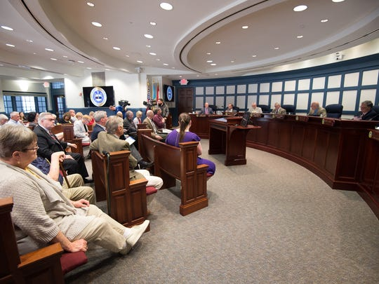 Members of the Sussex County Council voted 3 to 2 against the proposed Overbrook Town Center during a Sussex County Council meeting in Georgetown.