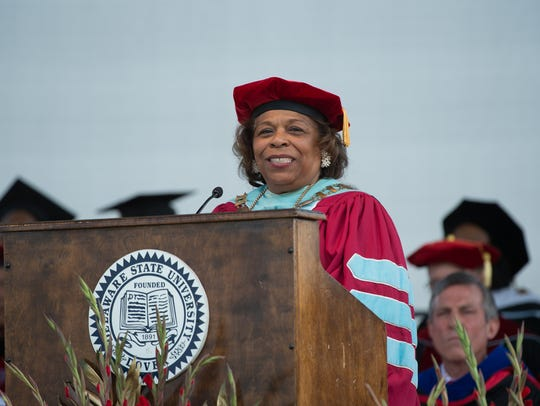 Dr. Wilma Mishoe, then acting president, gives the opening remarks at the Delaware State University 132nd commencement ceremony where over 700 graduates took part in the ceremony.