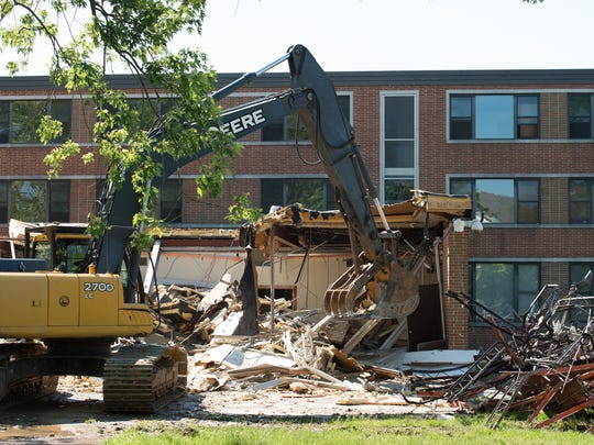 Demolition of the 56-year-old Lydia P. Laws Residential Hall on the campus of Delaware State University.