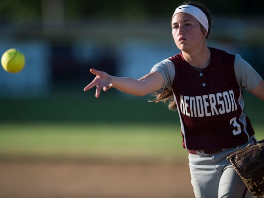 Henderson County's Rylie Bentley (3) lobs the ball toward first base during the district softball final at Webster County High School on Thursday, May 24, 2018. Webster County defeated Henderson County 3-0.