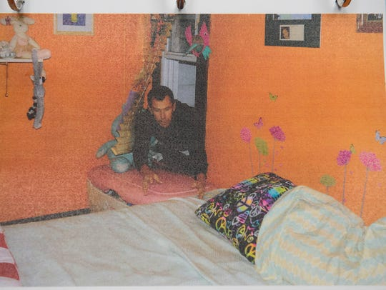 Evidence photo of Aleah Beckerle bedroom with investigators