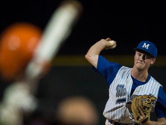 Memorial's Michael Lindauer (22) pitches against Silver Creek during the Class 3A regional final at North High School.