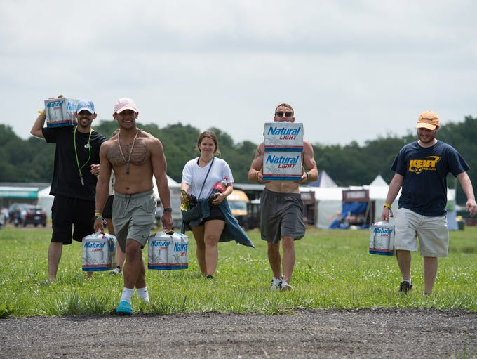Campers arrival to the Firefly Music Festival in Dover.