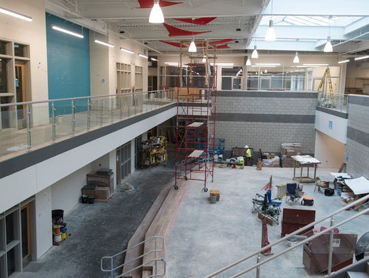The central lobby of the new McCutchanville Elementary