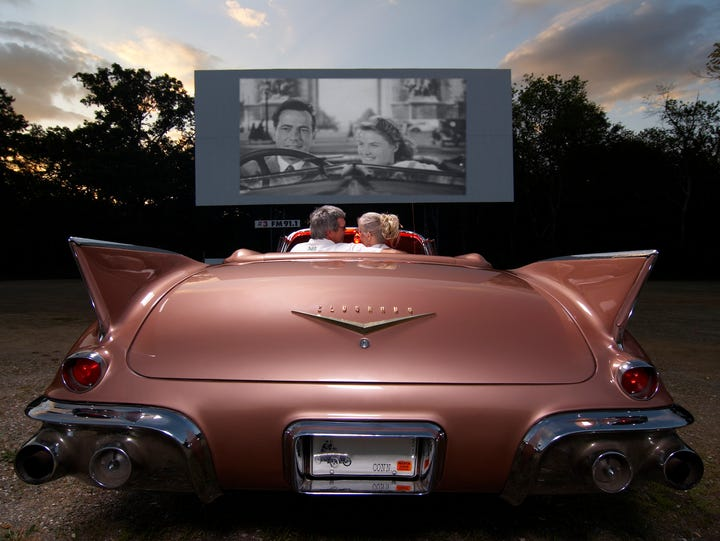 Connecticut: Guests settle in for a film in a vintage