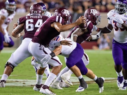Northwestern State's Blake Stephenson sacks Texas A&M
