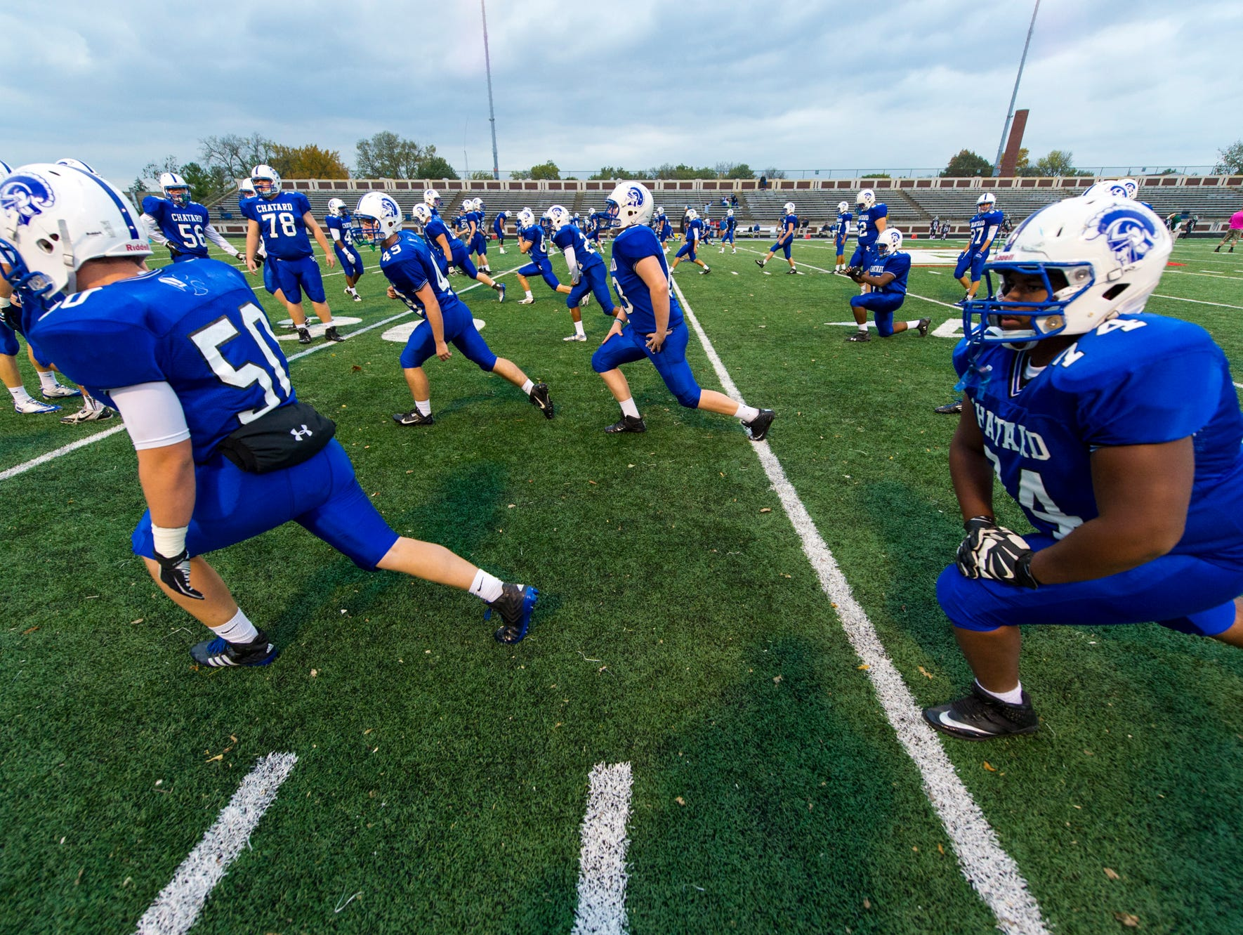 during pre-game activities. Arsenal Technical High School hosted Bishop Chatard High School, Friday, October 17, 2014, in varsity football action.