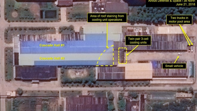 A satellite image shows what 38 North says is ongoing uranium enrichment at a North Korean nuclear facility on June 21, 2018.