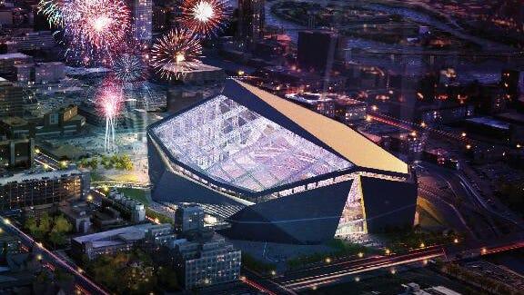 Illustration for new Vikings stadium.