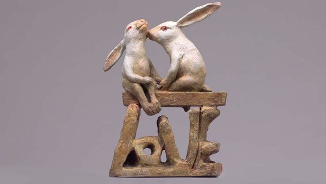 """""""Love Bunnies,"""" bronze by Donna Weiser, part of the """"Gifts from the Heart"""" group exhibit at Edgewood Orchard Galleries."""