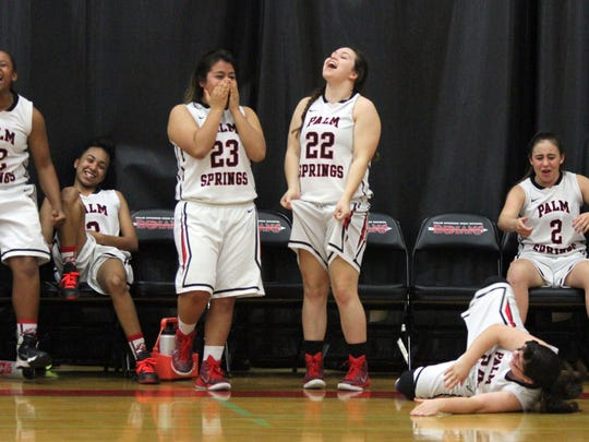 Palm Springs' players react to a missed shot at the buzzer to send the teams into double overtime during the game in Palm Springs on Thursday, February 18, 2016. Palm Springs won in double overtime.
