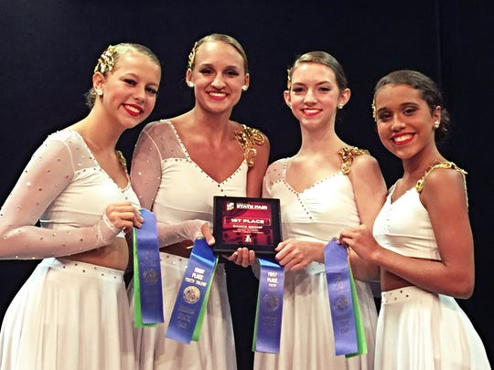 """Legacy dancers The girls from Legacy Dance Company worked so hard this year. They competed in the Youth Talent Contest at the Indiana State Fair and won the blue Ribbon for first place. They did a lyrical ballet to """"It Is Well"""" by Kristene DiMarco in the Senior Group Dance division. Pictured from left to right is  Regan Happe,16, of Gibson Southern; Adison Young, 17, of Reitz High School; Elaina Bradley, 16, of Memorial High School; and Olivia Williams Fonner, 13, of North Jr. High."""