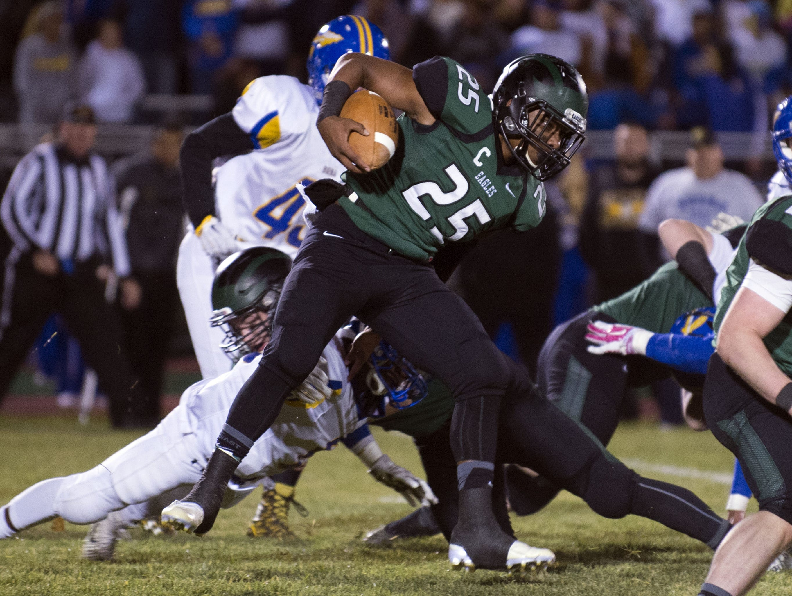 West Deptford's David Hamilton looks for running room during Friday's game against Buena. The Eagles prevailed with a 21-10 win, advancing to the sectional final.