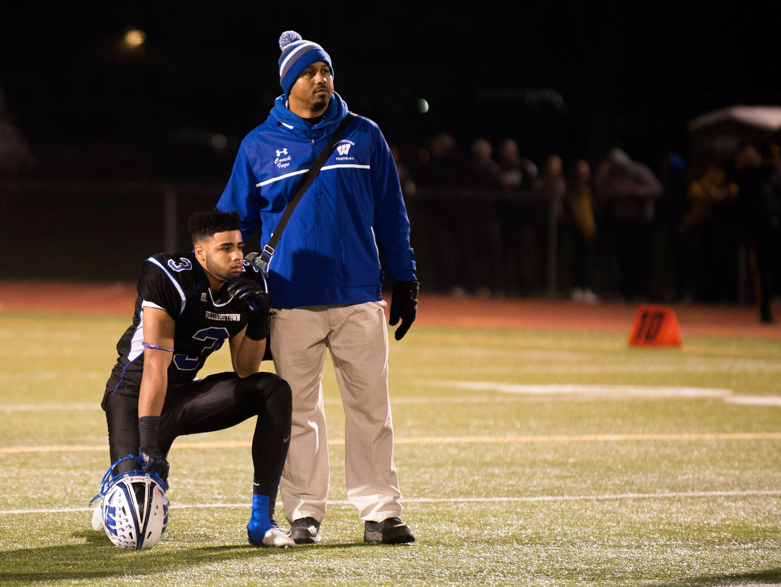 Williamstown's Eric Smith (3) takes a knee as Williamstown falls to Toms River North Saturday, Dec. 5 at Rowan University in Glassboro. Toms River North won 14-7, claiming the South Jersey Group 5 title.