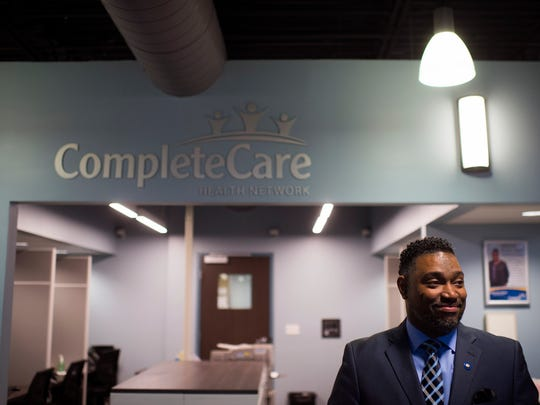 President and CEO J. Curtis Edwards stands by the entrance as CompleteCare hosts its grand-opening Friday, Feb. 19 on Sherman Ave in Vineland.