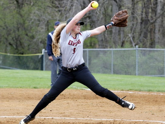 Elmira pitcher Bella Reese delivers to the plate Tuesday
