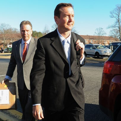 Kurt Busch arrives for his protective order hearing