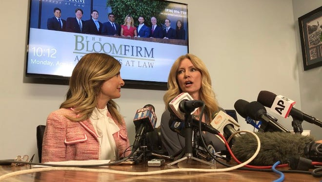 Attorney Lisa Bloom, left, and Wendy Walsh, a lecturer faculty member at CSU Channel Islands in Camarillo, spoke to dozens of reporters on Monday. Walsh, who was a contributor on Bill O'Reilly's show on Fox News, alleges a rebuff of the TV host's advances cost her a job with the TV network.