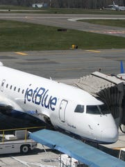A JetBlue plane Tuesday at Westchester County Airport.