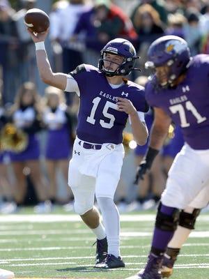 Ashland University quarterback Austin Brenner (15) throws a pass against Davenport on Oct. 12, 2019 at Jack Miller Stadium/Martinelli Field.