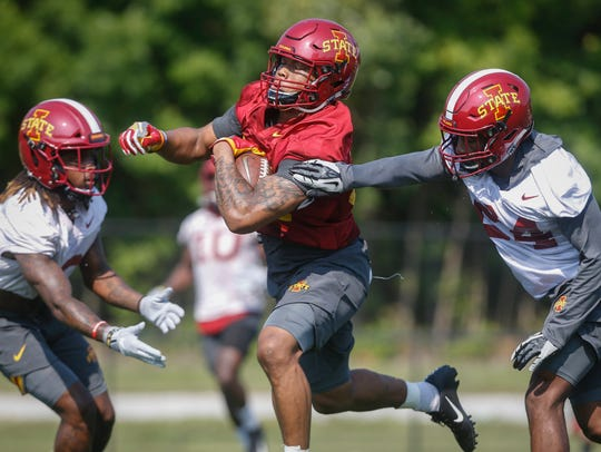Iowa State junior running back David Montgomery powers