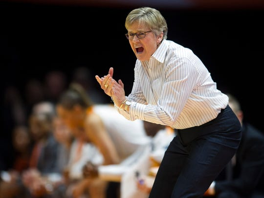 Tennessee head coach Holly Warlick encourages her team