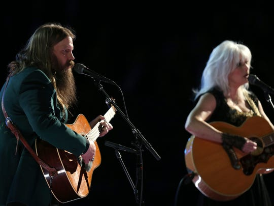 Chris Stapleton and Emmylou Harris perform at the 60th annual Grammy Awards on Jan. 28, 2018, in New York.