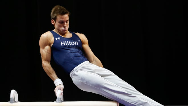 Sam Mikulak competes on the pommel horse at the U.S. men's gymnastic championships Aug. 16, 2015, in Indianapolis.