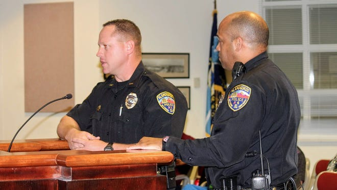 Alamogordo Police Chief Brian Peete and Deputy Police Chief Michael Lawrence discuss overtime for the Alamogordo Police Department officers who will be volunteering to work the Red, White and Blue Brew and Music Fest on July 4 at the latest City Commission meeting last Tuesday.