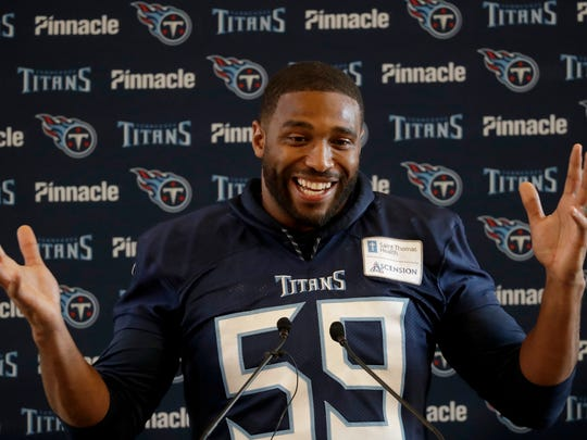 Tennessee Titans' linebacker Wesley Woodyard gives a press conference after an NFL training session at Syon House, in Syon Park, south west London, Friday, Oct. 19, 2018. The Tennessee Titans are preparing for an NFL regular season game against the Los Angeles Chargers in London on Sunday. (AP Photo/Matt Dunham)