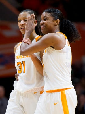 Tennessee's Jaime Nared, left, is congratulated by teammate Diamond DeShields during the fourth quarter of Monday's game against Notre Dame at Thompson-Boling Arena.