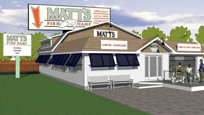 A rendering of the second Matt's Fish Camp, set to open in Lewes early summer 2016.