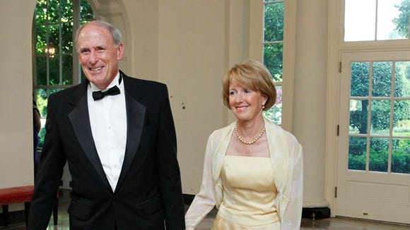 Sen. Dan Coats, R-Ind., and his wife Marsha Coats, arrive for a State Dinner hosted by President Barack Obama and first lady Michelle Obama in honor of German Chancellor Angela Merkel June 7, 2011.