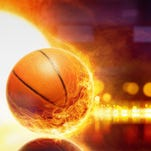 Abstract sports background - burning basketball, orange glowing lights with reflection