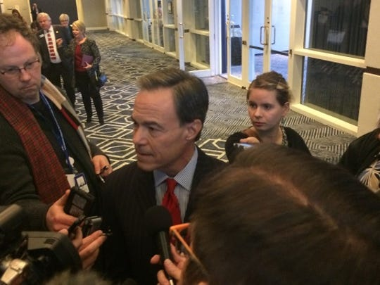 Texas House Speaker Joe Straus speaks with reporters in Austin on Jan. 18, 2017.