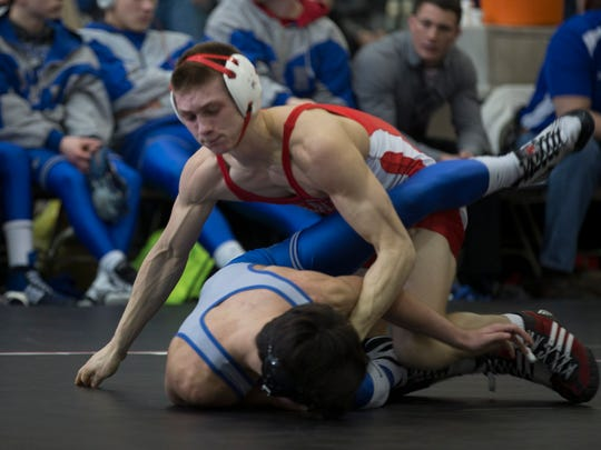 Point Pleasant Beach's Rodman Rupp defeats  3-1 over Kittatinny Regional's Perry Maio during their 132 lbs. bout. Point Pleasant Beach vs Kittatinny Regional  in  Semifinal of NJSIAA Public  Group Team Wrestling Championships  in Toms River, NJ on February 12, 2017
