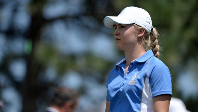 Charley Hull, 17, of England defeated Paula Creamer in singles on Sunday 5 and 4.