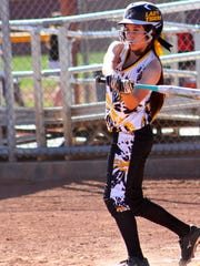 Alamogordo junior Aciana Herrera swings at a pitch Friday afternoon.