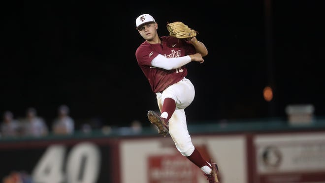 FSU's Mike Salvatore throws to first base for the out against N.C. State during their game at Dick Howser Stadium on Friday, May 18, 2018.