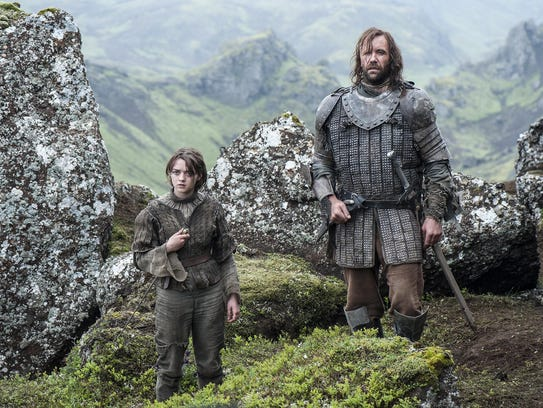 Pictured:  Maisie Williams as Arya Stark, Rory McCann as Sandor 'The Hound' Clegane Credit:   Helen Sloan/HBO [Via MerlinFTP Drop]