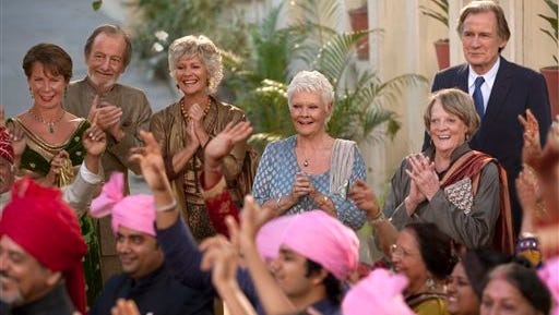 "This image released by Fox Searchlight Films shows, from left, Celia Imrie, Ronald Pickup, Diana Hardcastle, Judi Dench, Maggie Smith and Bill Nighy in a scene from ""The Second Best Exotic Marigold Hotel."" (AP Photo/Fox Searchlight Films, Laurie Sparham)"