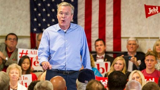 Republican presidential candidate and former Florida Gov. Jeb Bush speaks at the Pensacola Bay Center in Pensacola, Florida Wednesday.