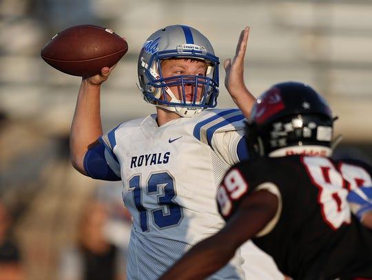 Hamilton Southeastern quarterback Cody Sparks drops