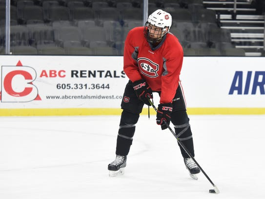 St. Cloud State University hockey players practice at the Premier Center in Sioux Falls on Thursday, March 22, 2018.