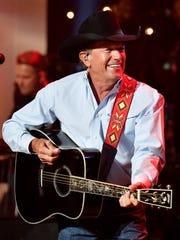 George Strait performs at the Jerry Lee Lewis tribute Thursday, Aug. 24, 2017 at Skyville Live in Nashville, Tenn.