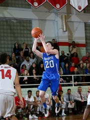 Hammonton's Pat Costa, seen taking a shot against St. Joseph on Feb. 15, tallied seven points in the Blue Devils' 75-44 victory over Pitman on Feb. 25.